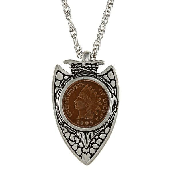 American Coin Treasures Indian Head Penny Silvertone Arrowhead Pendant