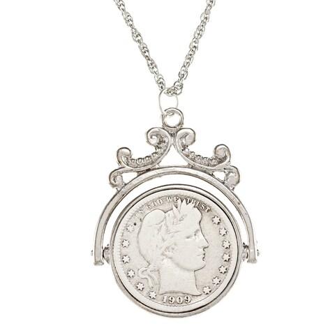 American Coin Treasures Silver Barber Quarter Spinner Pendant