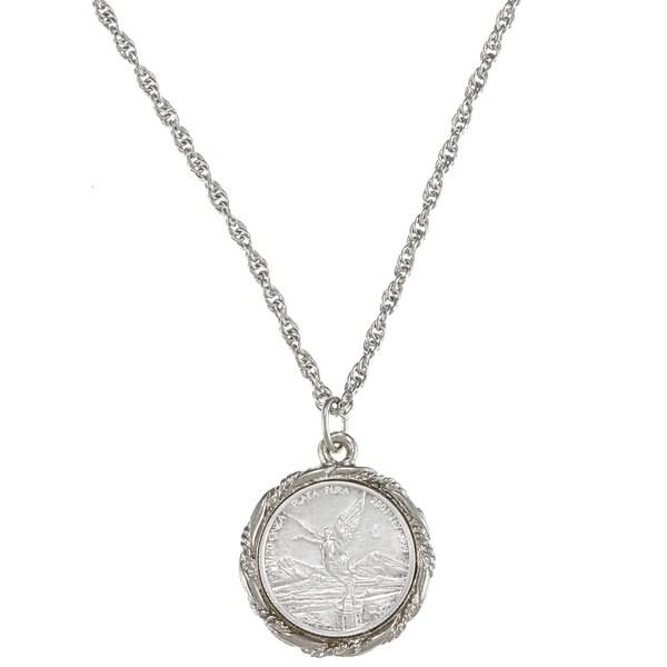 American Coin Treasures Silver Mexican Libertad Angel Pendant
