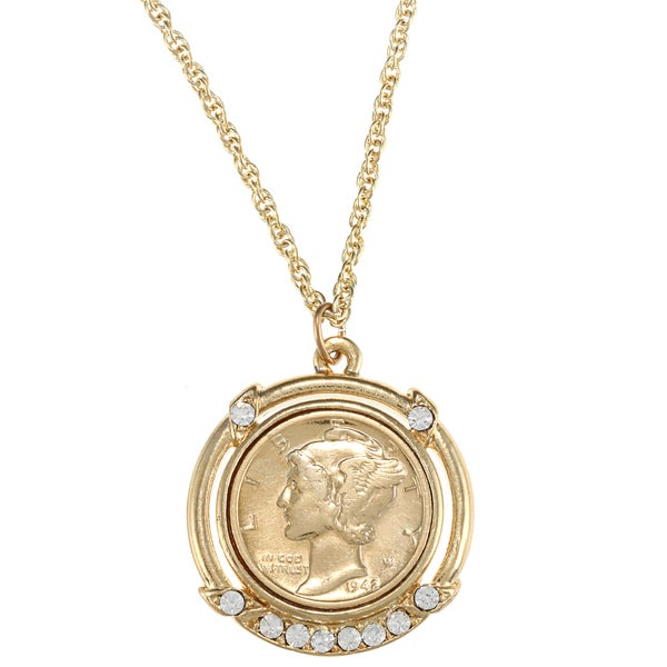 American Coin Treasures Gold-Plated Silver Mercury Dime Pendant. Opens flyout.