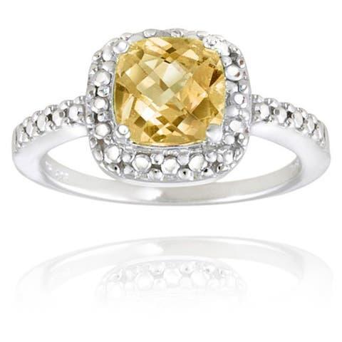 Glitzy Rocks Sterling Silver Square Cushion-cut Gemstone and Diamond Accent Ring