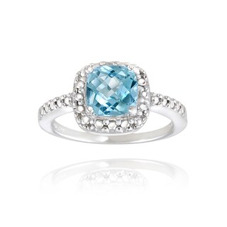 Glitzy Rocks Sterling Silver Square Cushion-cut Gemstone and Diamond Accent Ring (More options available)