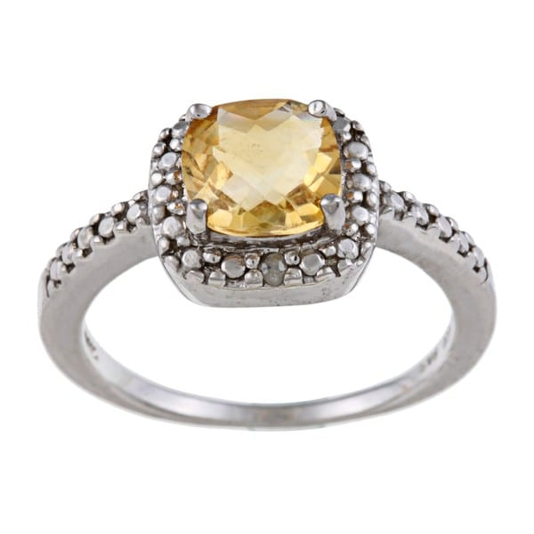 Glitzy Rocks Sterling Silver 1 5/8 CTW Citrine and Diamond Accent Square Ring. Opens flyout.