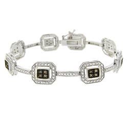 DB Designs Sterling Silver 1/3ct TDW Brown Diamond Link Bracelet