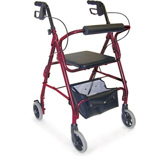 Mabis Burgundy Adjustable Seat Height Aluminum Rollator