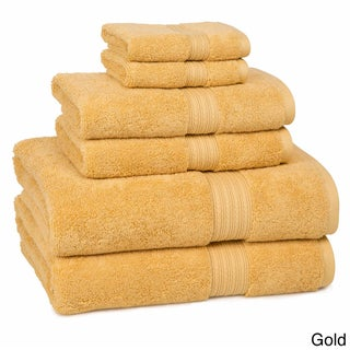 Absorbent Two-ply Ring Spun Cotton Solid-colored 6-piece Towel Set (Option: Gold)