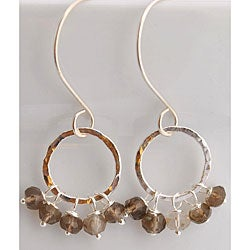 Silver and Smoky Quartz Dangle Earrings
