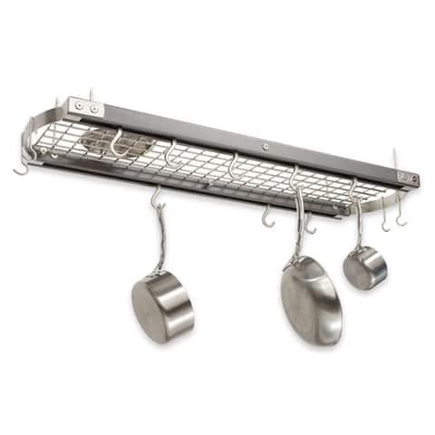 J.K. Adams 39-Inch Oval Hanging Pot Rack, Grey