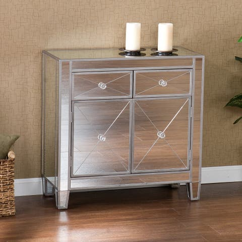 Dalton 2-Door Mirrored Accent Cabinet