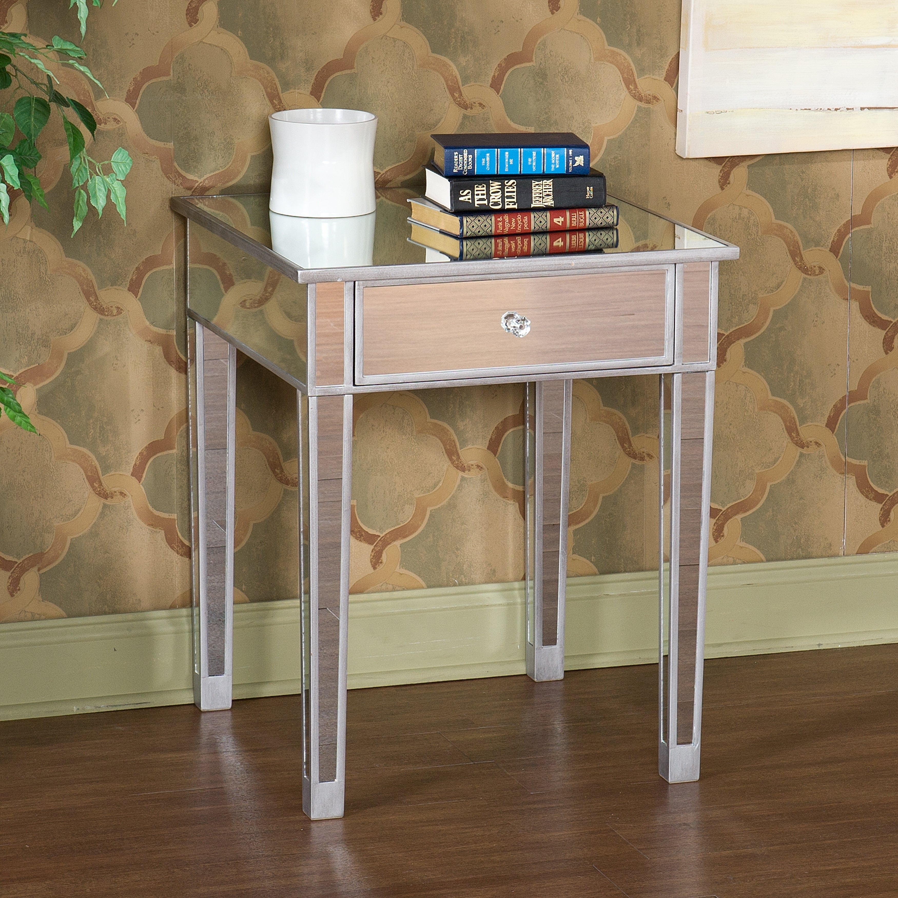 Silver Orchid Olivia Mirror Side End Table