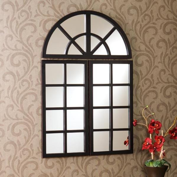 Shop Harmony Distressed Black Windowpane Mirror Free
