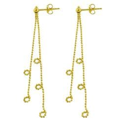 Fremada 14k Yellow Gold Diamond-cut Fantasy Dangle Earrings