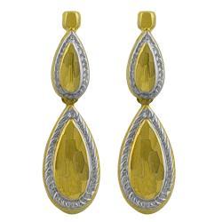 Fremada 14k Two-tone Gold Ribbed Edge Graduated Teardrop Dangle Earrings