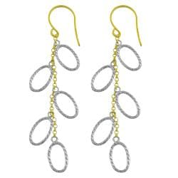 Fremada 14k Two-tone Gold Diamond-cut Oval Link Dangle Earrings