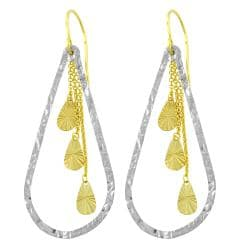 Fremada 14k Two-tone Gold Diamond-cut Teardrop Dangle Earrings