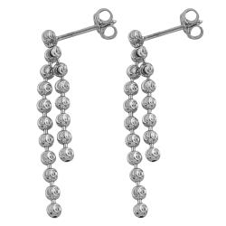 Fremada 14k White Gold 2-strand Diamond-cut Bead Dangle Earrings