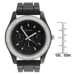 Geneva Womens 'Platinum' Rhinestone Chronograph-style Silicone Watch - Thumbnail 2