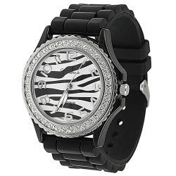 Geneva Women's 'Platinum' Black Silicone Watch