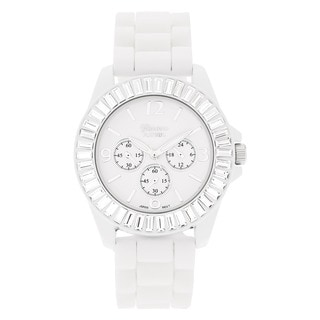 Geneva 'Platinum' Women's Rhinestone-accented Silicone Watch