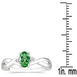Marquee Jewels 10k White Gold Emerald and Diamond Accent Ring - Thumbnail 2