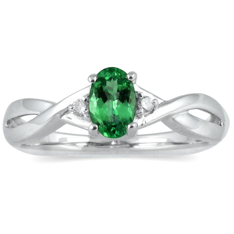 Marquee Jewels 10k White Gold Emerald and Diamond Accent Ring