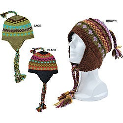 Handmade Wool Colorful Striped Beanie (Nepal)