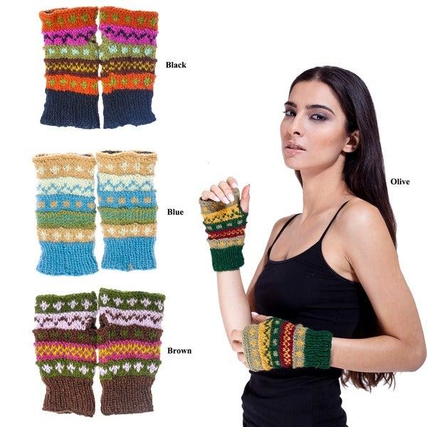 Wool Colorful Arm Warmers (Nepal)