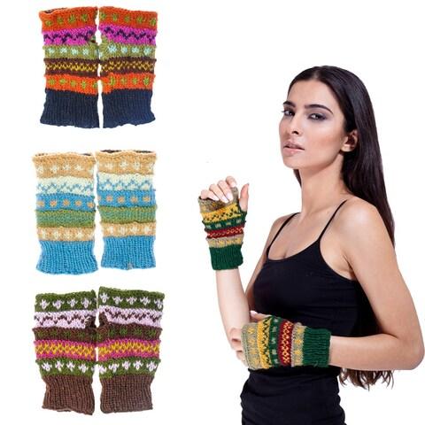Handmade Wool Colorful Arm Warmers (Nepal)
