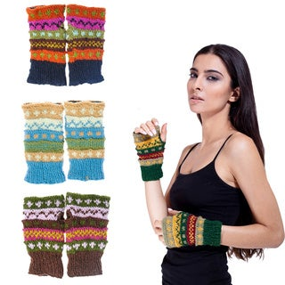 Handmade Wool Colorful Arm Warmers (Nepal)