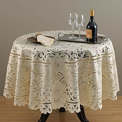 Embroidered and Cutwork 72-inch Round Tablecloth Set