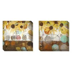 Gallery Direct Judy Paul 'Flowers and Circles' Set of 2 Gallery Wrapped Canvas Art Set