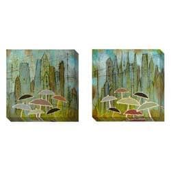 Gallery Direct Judy Paul 'Rain Again' Set of 2 Gallery Wrapped Canvas Art Set - Thumbnail 1