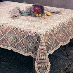 Saro Tuscany Lace Oblong Cotton 72x90 Inch Tablecloth (So.
