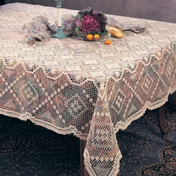 Tuscany Lace Oblong Cotton 72x90 Inch Tablecloth
