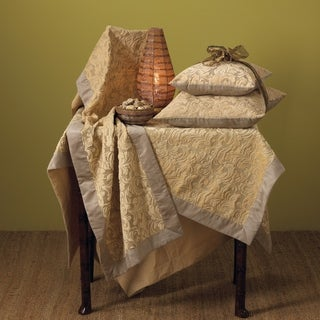 Damask Square Tablecloth with Faux Suede Border