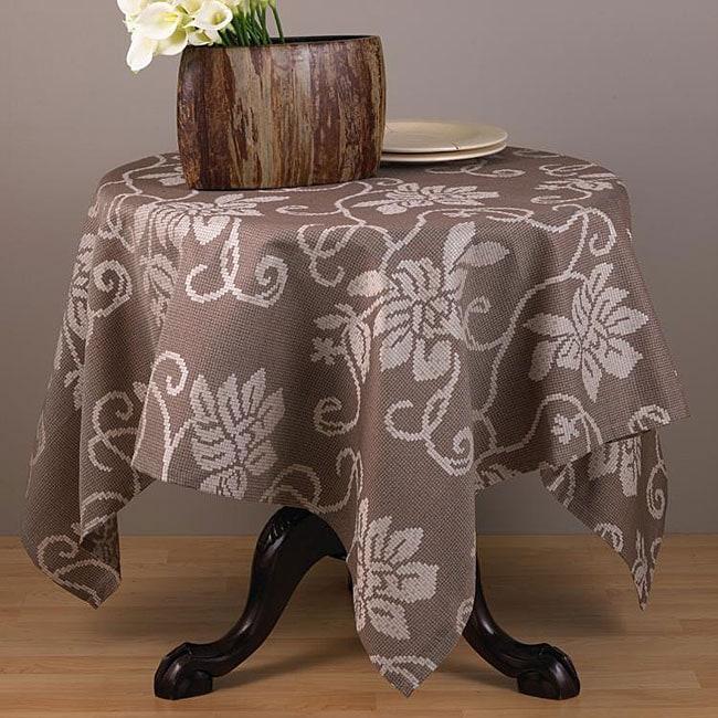 Cappuccino Floral 60-inch Square Tablecloth