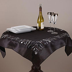 Embroidered and Sequined Black 36-inch Square Table Topper
