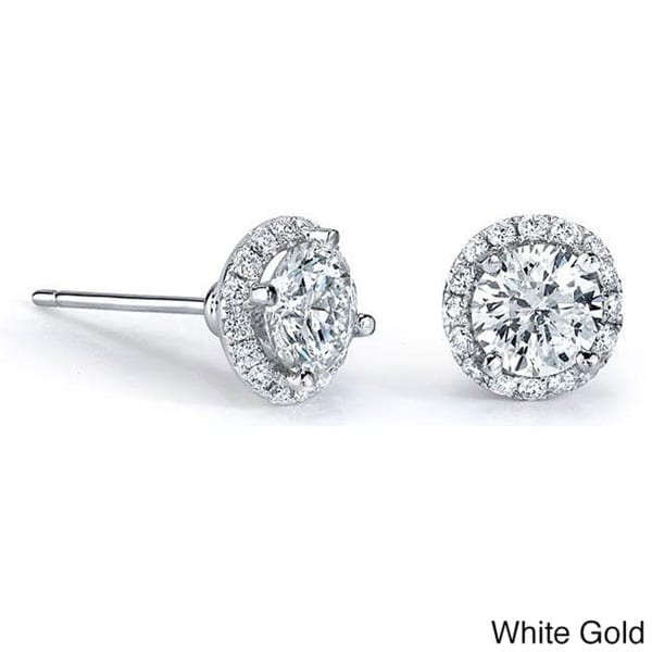 Victoria Kay 14k Gold 1/2ct TDW Diamond Halo Stud Earrings