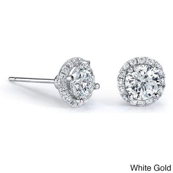 1916d9471 Shop Victoria Kay 14k Gold 1/2ct TDW Diamond Halo Stud Earrings ...