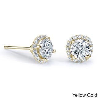 Victoria Kay 14k Gold 1/2ct TDW Diamond Halo Stud Earrings (2 options available)