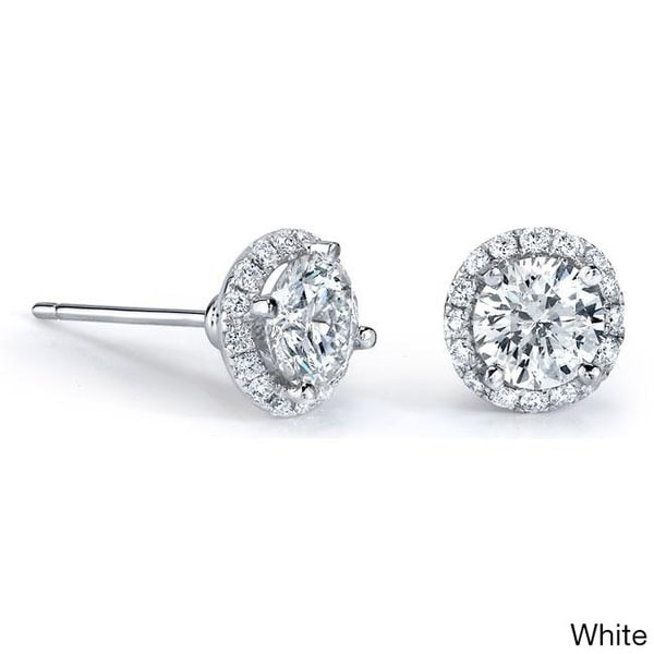 14k White Gold 1ct TDW Diamond Stud Halo Earrings
