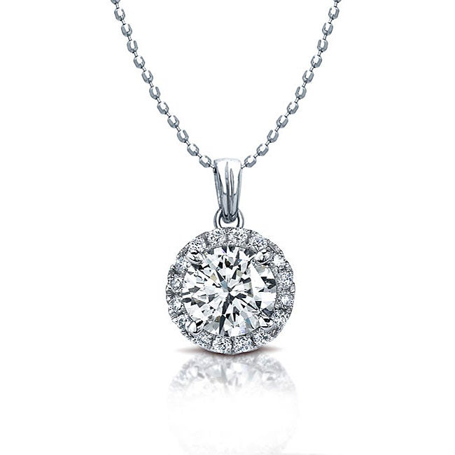 14k White Gold 1/4ct TDW Diamond Halo Necklace (I-J, I1-I2)