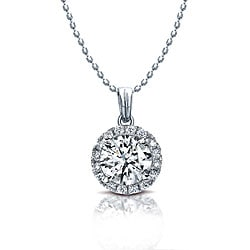 14k White Gold 1/4ct TDW Diamond Halo Necklace