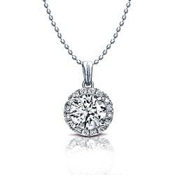 14k White Gold 1/4ct TDW Diamond Halo Necklace (I-J, I1-I2)