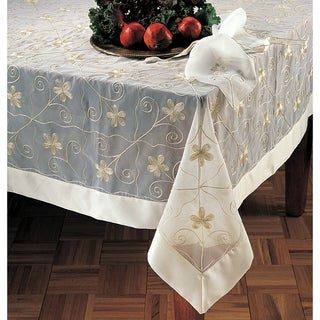 Superb Sheer Embroidered 80 Inch Square Tablecloth