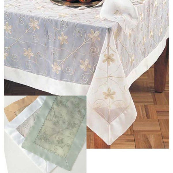 Genial Sheer Embroidered 80 Inch Square Tablecloth