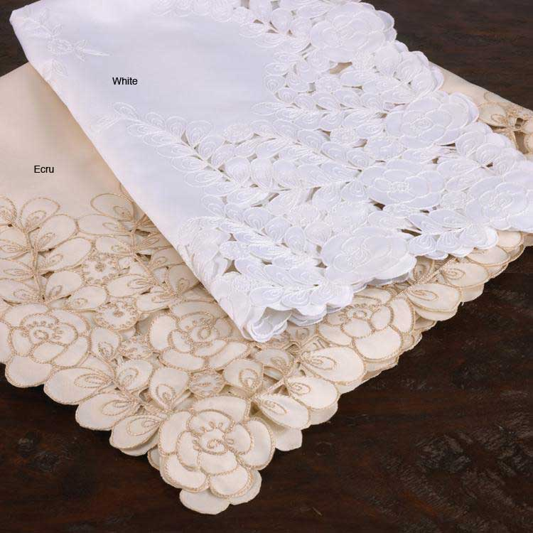 Embroidered Floral Cut-work 36-inch Square Tablecloth