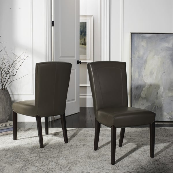 Safavieh Parsons Dining Bowery Brown Clay Leather Side Chairs (Set of 2)