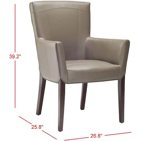 """Safavieh Dining Bowery Brown Clay Leather Arm Chair - 27.2"""" x 26.2"""" x 37.6"""""""