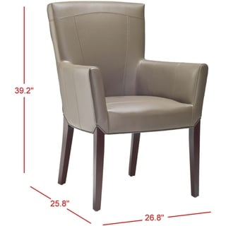 """Link to Safavieh Dining Bowery Brown Clay Leather Arm Chair - 27.2"""" x 26.2"""" x 37.6"""" Similar Items in Kitchen & Dining Room Chairs"""
